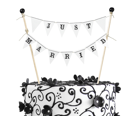 Classic Just Married Wedding Bunting Cake Topper