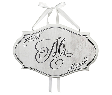 White Mr. Vintage Wedding Chair Sign Home Decor