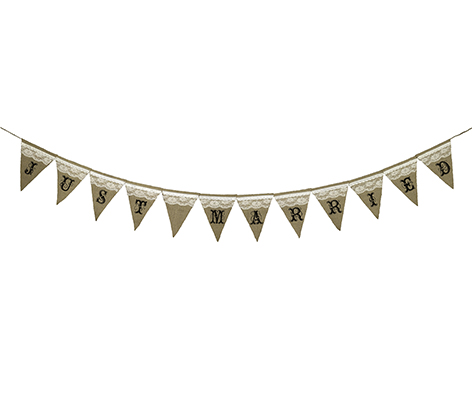 Just Married Rustic Burlap Wedding Bunting Banner