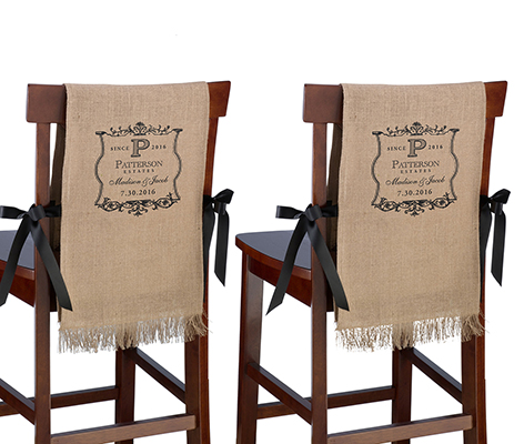 Personalized Vineyard Burlap Chair Covers Decor