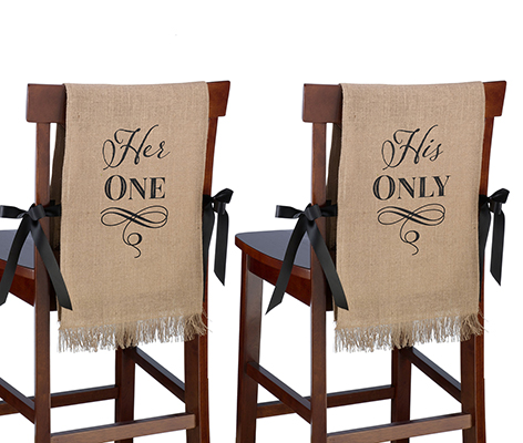 His One Her Only Rustic Burlap Wedding Chair Decor