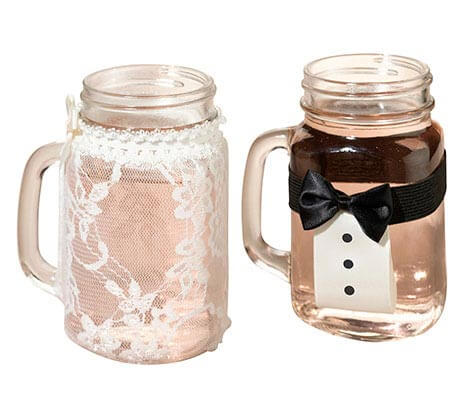 Bride and Groom Vintage Lace Tuxedo Glass Covers