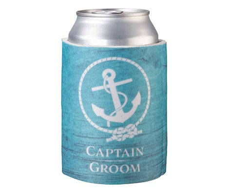 Coastal Beach Captain Groom Can Cup Cozy Keepsake
