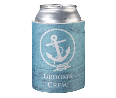 Coastal Beach Groom's Crew Can Cup Cozy Keepsake