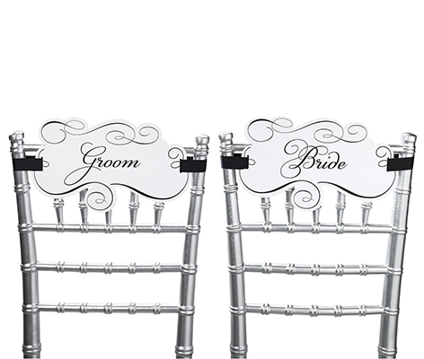 Bride and Groom Wedding Chair Decor Signs