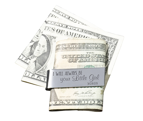 Father of the Bride Gift Silver Little Girl Money Clip