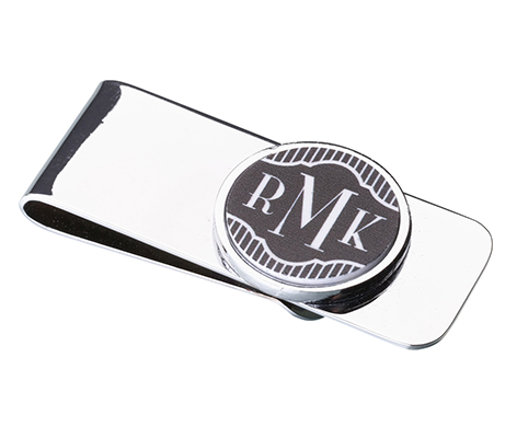 Black Band 3 Monogram Wedding Gift Money Clip