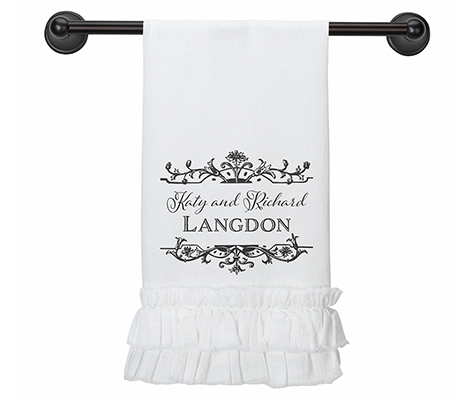 Personalized Wedding Gift White Kitchen Towel