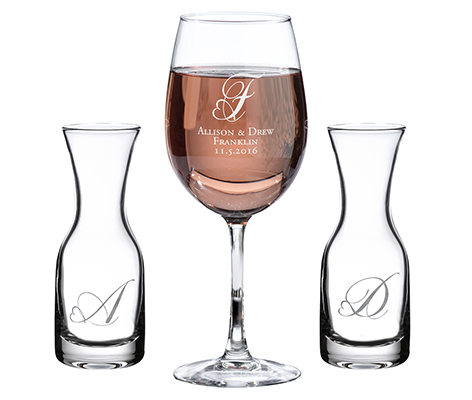 Wedding Ceremony Monogram Unity Wine Set