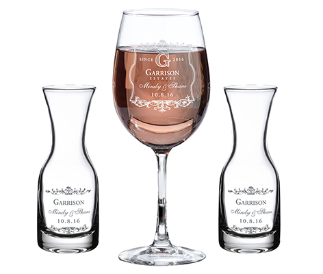 Personalized Vineyard Wedding Unity Wine Set