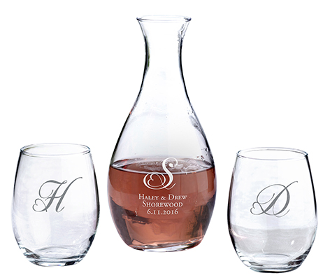 Monogram Decanter and Stemless Wine Glasses