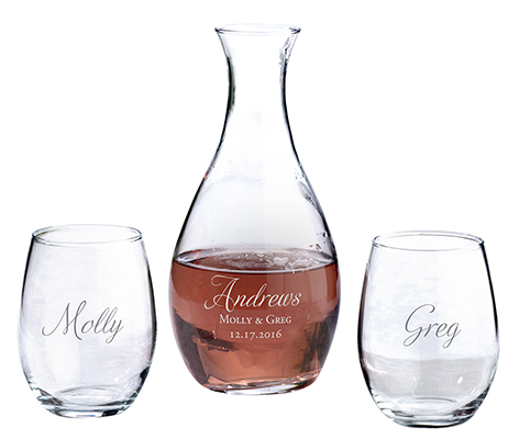 Personalized Decanter and Stemless Wine Glasses