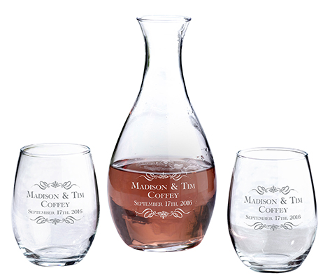 Personalized Name Decanter Stemless Wine Glasses