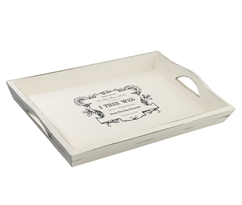 Antique White Wedding Breakfast Tray True Love