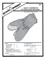 Adult Overmitts or Insulated Mittens (207GP) Sewing Pattern