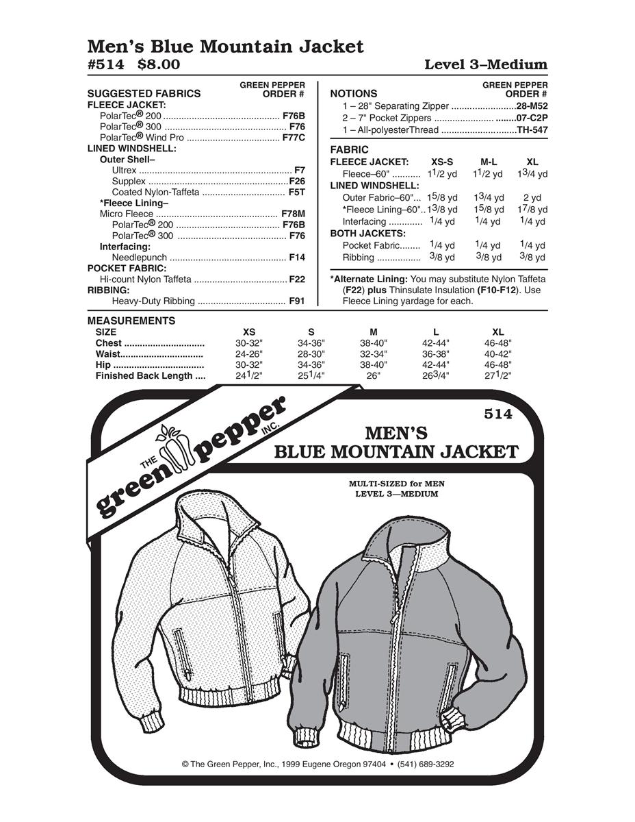 Men\'s Blue Mountain Jacket (514GP) Sewing Pattern