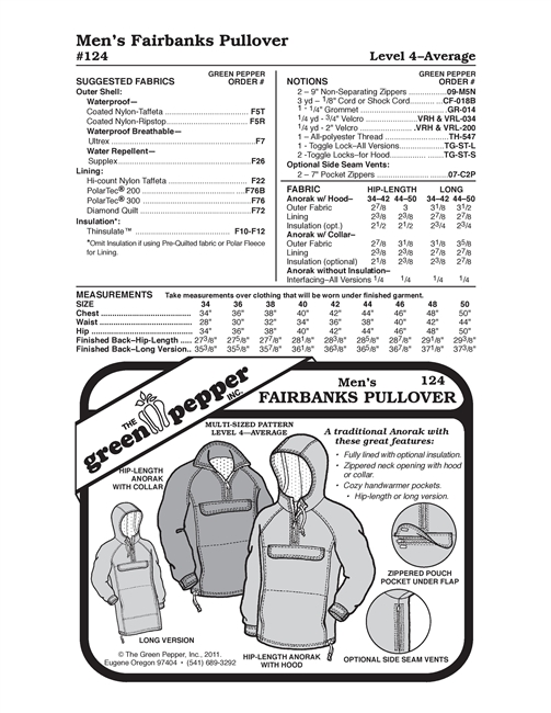 Cold Weather Hood for Adults (518GP) Sewing Pattern