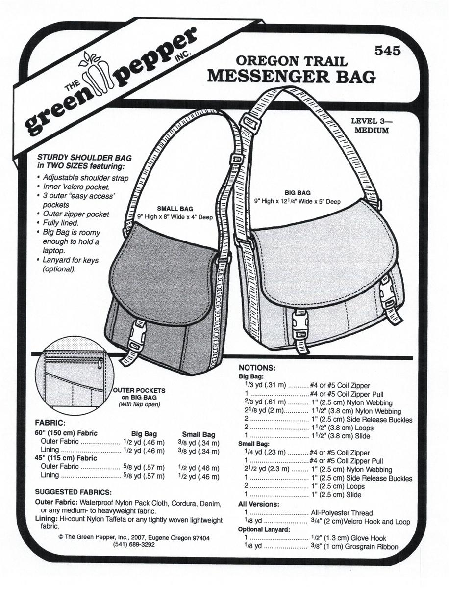 Oregon Trail Messenger Bag (545GP) Sewing Pattern