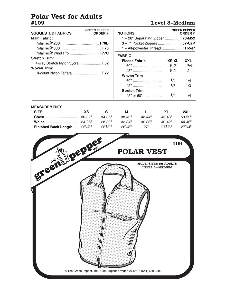 Polar Vest (109GP) Sewing Pattern