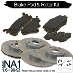 Miata Complete Brake Kit: Pads & Rotors for 1.6 Miata 1990-93 Maintenance Package