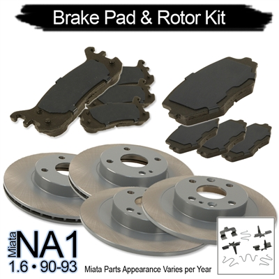 RSpeed Complete Brake Kit: Pads & Rotors for 1.6 Miata 1990-93 Maintenance Package