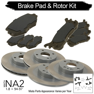 RSpeed Complete Brake Kit: Pads & Rotors for 1.8 Miata 1995-97 Maintenance Package