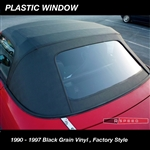 BLACK VINYL - Robbins Convertible Top,  Zippered Plastic Window, Factory Style Miata 1990 - 1997