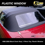 ECONOMY BLACK VINYL - 1 Piece Convertible Top, No-Zipper Plastic Window by Key Auto Top Miata 1990 - 1997