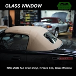 ECONOMY TAN VINYL - 1 Piece Convertible Top, No-Zipper Glass Window Miata 1990 - 2005