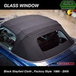BLACK STAYFAST CLOTH - Robbins Convertible Top, With Heated Defroster, Factory Style fits Miata 1990 - 2005