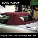 BURGUNDY STAYFAST CLOTH - Robbins Convertible Top, With Heated Defroster, Factory Style fits Miata 1990 - 2005