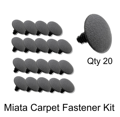Miata Carpet Clip Fastener Kit Containing 20 Pieces.  Fits 1990 - 2005 Miata