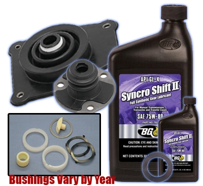 Complete Rspeed Shifter Rebuild Kit With BG Transmission Fluid Change Maintenance Package (Includes Bushings, Upper and Lower boots, & Gear Oil)