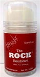 Scent Free Deodorant free of perfumes, chemicals and dyes.  Also hypoallergenic, non-sticky, no-staining and leaves no white residue.  The Rock should last up to a year with daily use.