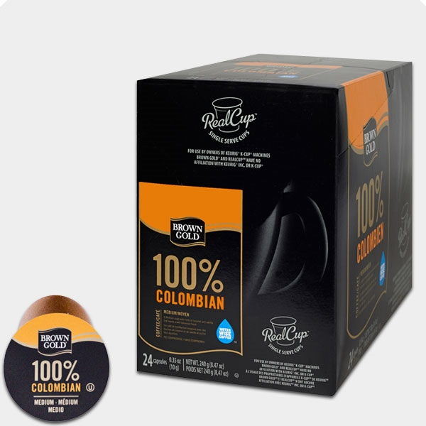 Photo Of 100 Percent Colombian Coffee K Cups By Brown Gold