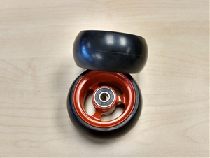 "Durable Wheelchair Parts & Accessories | 3"" x 1.4"" EPIC Alum Soft Roll Caster Wheel, 5/16"" Bearing"