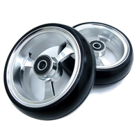 "Durable Wheelchair Parts & Accessories | 4"" x 1.4"" EPIC Alum Soft Roll Caster Wheel, 5/16"" Bearing"