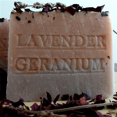 Handcrafted Natural French Lavender Geranium Soap Bar with French Rose Clay
