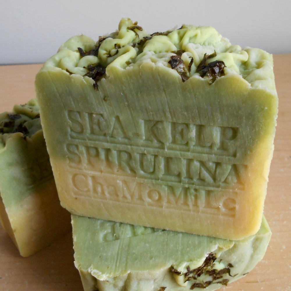 sea kelp moss with chamomile herb and cocoa butter soap