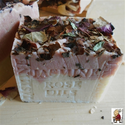 Handmade French Jasmine Soap With Crushed Flowers and Rose