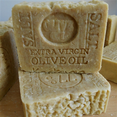 Cretan Greek Olive Oil Soap with Mediterranean Sea Salt Natural  Bar