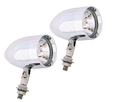 A pair of chrome housing mount, with a 4-way pivot mount bolt.