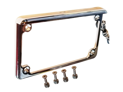 Chrome Motorcycle plate frame with LEDs harcore lighting