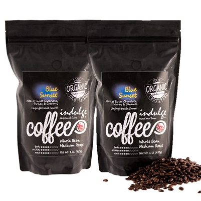Blue Sunset Medium Roast Whole Bean Organic Coffee - 1LB - Pack of 2