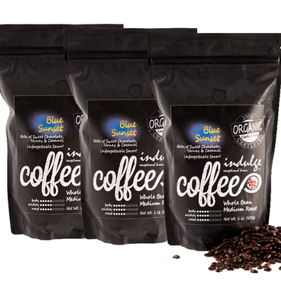 Blue Sunset Medium Roast Whole Bean Organic Coffee - 1LB - Pack of 3