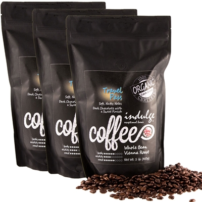 Travel Pass Vienna Roast Whole Bean Organic Coffee - 1LB - Pack of 3