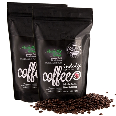 Push The Train French Roast Whole Bean Organic Coffee - 1LB - Pack of 2