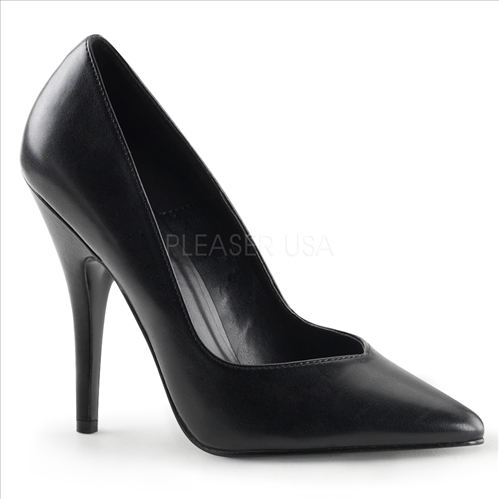 Smooth Black Faux Leather Womens Pump