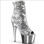 Silver Sequins And Silver Chrome Ankle Boot