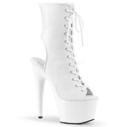 Midcalf Ankle Boot White Faux Leather Exotic Shoe